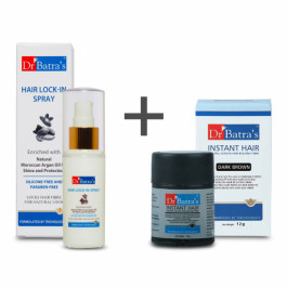 Dr Batra's Instant Hair Natural Keratin Hair Building Fibre Dark Brown with PRO+ Lock-In Spray Combo Pack