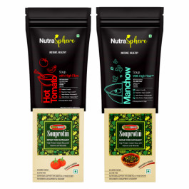 NutraSphere Hot Tomato, Tangy Tomato and Manchow Instant Soup Mix Powders With Protein and Fiber (Pack of 4)