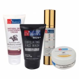 Dr Batra's Serum, Men+ Exfoliating Face Wash, Natural Skin Cream with Moisturizing Cream