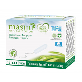 Masmi Organic Cotton Non-Applicator or Digital Super, 18 Tampons