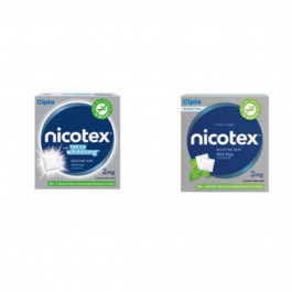 Nicotex 2mg Teeth Whitening & Mint Plus Flavour, Pack of 2