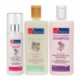 Dr Batra's Hair Fall Control Serum, 125ml & Conditioner, 200ml With Hairfall Control Shampoo, 200ml