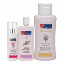 Dr Batra's Hair Fall Control Serum, 125ml & Normal Shampoo, 500ml With Hair Fall Control Oil, 200ml