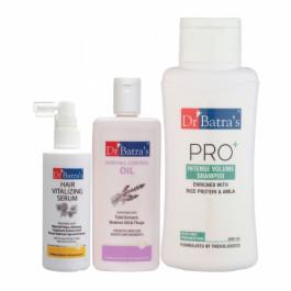 Dr Batra's Hair Vitalizing Serum, 125ml & Pro+ Intense Volume Shampoo, 500ml with Hair Fall Control Oil, 200ml Combo Pack