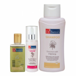 Dr Batra's Hair Fall Control Serum, 125ml & Normal Shampoo, 500ml With Hair Oil, 100ml