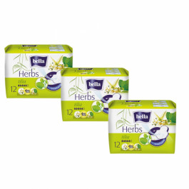 Bella Herbs Sanitary Pads With Tilia Flower, 12 Pieces (Pack Of 3)