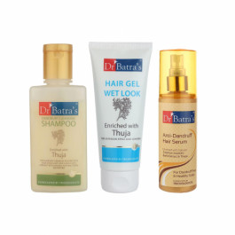 Dr Batra's Dandruff Cleansing Shampoo With Hair Gel And Anti Dandruff Hair Serum Combo Pack