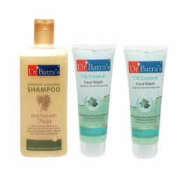 Dr Batra's Dandruff Cleansing Shampoo With Oil Control Face Wash Combo Pack
