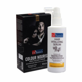 Dr Batra's Hair Vitalizing Serum With Colour Nourish Hair Colour Cream (Black) Combo Pack