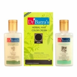 Dr Batra's Herbal Hair Color Cream (Brown) With Dandruff Cleansing Shampoo and Conditioner Combo Pack