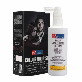 Dr Batra's Hair Vitalizing Serum With Colour Nourish Hair Colour Cream (Brown) Combo Pack