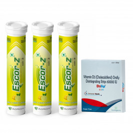 Escor-Z Effervescent Tablets Lime and Lemon, 60s with D3sip, 8 Orally Dissolving Films