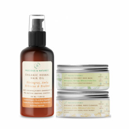 Precious Nature Certified Organic Hair fall control & Conditioning Kit, 250gm