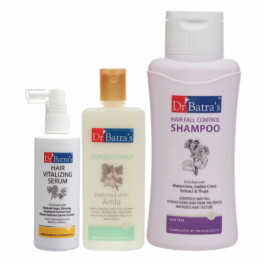 Dr Batra's Hair Vitalizing Serum, 125ml, Conditioner, 200ml With Hair Fall Control Shampoo, 500ml Combo Pack