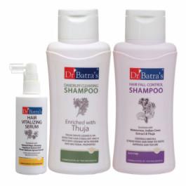 Dr Batra's Hair Vitalizing Serum, 125ml, Hair Fall Control Shampoo, 500ml With Dandruff Cleansing Shampoo, 500ml Combo Pack