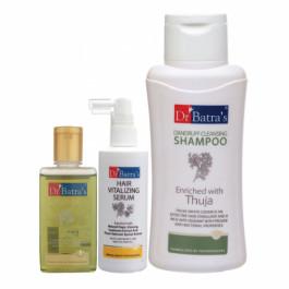 Dr Batra's Hair Vitalizing Serum, 125ml & Dandruff Cleansing Shampoo, 500ml with Hair Oil, 100ml Combo Pack