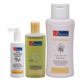 Dr Batra's Hair Vitalizing Serum, 125ml & Normal Shampoo, 500ml with Hair Oil, 200ml Combo Pack