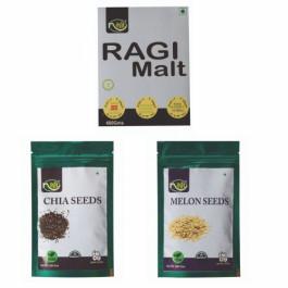 Nihit Health Combo, 800gm (Ragi Malt, Chia Seeds and Melon Seeds)