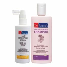 Dr Batra's Hair Vitalizing Serum ,125ml With Hairfall Control Shampoo, 200ml Combo Pack