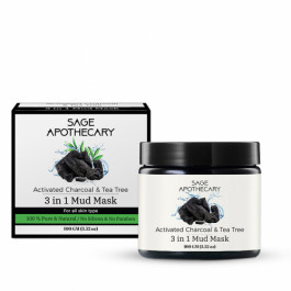 Sage Apothecary Activated Charcoal & Tea Tree 3 in 1 Mud Mask, 100gm
