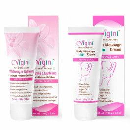 Vigini Natural Actives Intimate Hygiene Gel Wash With Body Massage Cream, 100gm (Pack Of 2)