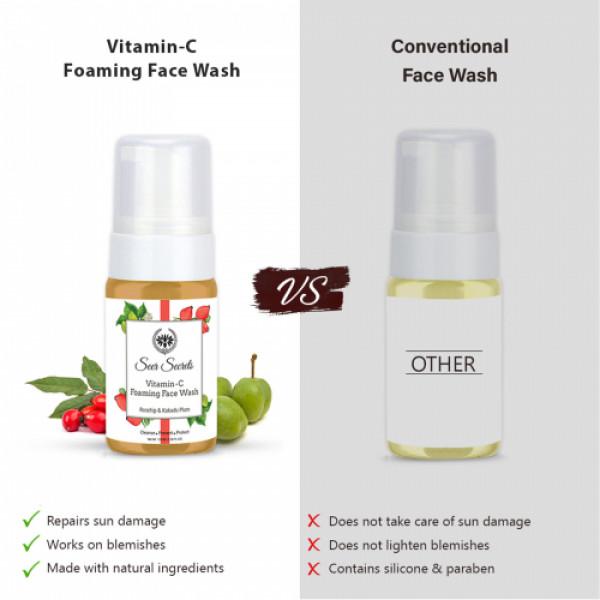 Seer Secrets Rosehip and Kakadu Plum Vitamin C & 5% Niacinamide Foaming Face Wash, 120ml