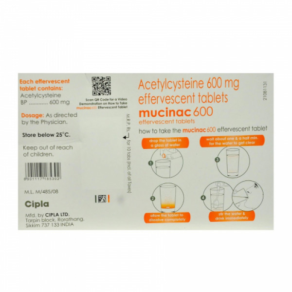 Mucinac 600mg, 10 Tablets