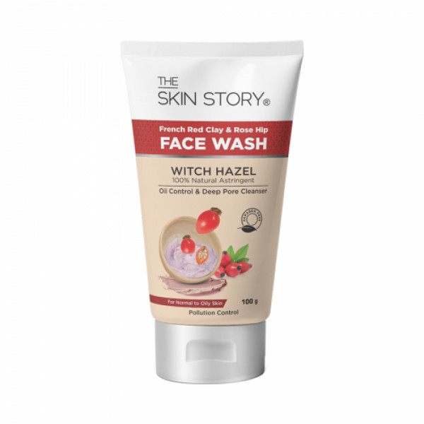 The Skin Story French Red Clay & Rose Hip Oil & Pollution Control Facewash, 100gm