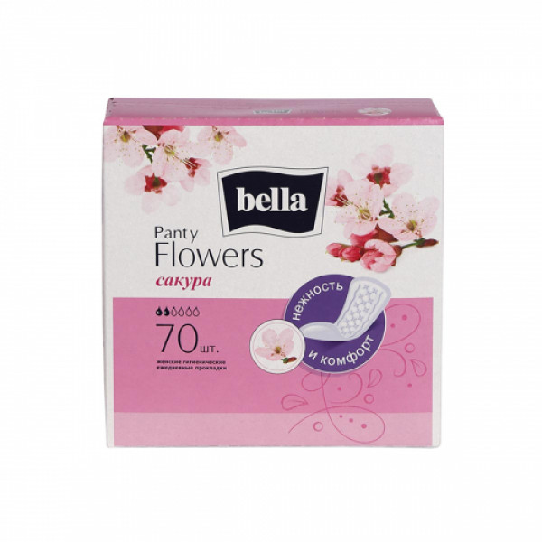 Bella Party Flowers Japanese Cherry Classic Panty Liners, 70 Pieces (Pack Of 2)