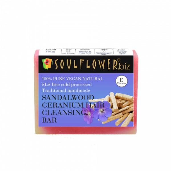 Soulflower Sandalwood Geranium Hair Cleansing Bar Soap, 150gm