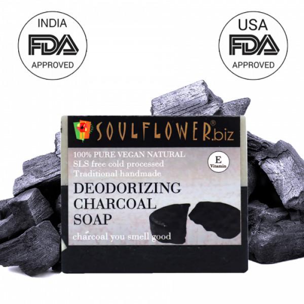 Soulflower Deodorizing Charcoal Soap, 150gm