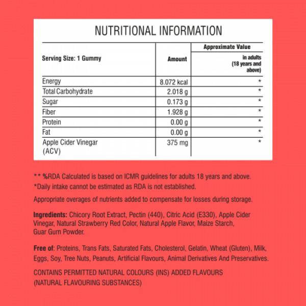 Purna Sugar Free Weight Loss Vitamin Apple Cider Vinegar, 30 Gummies