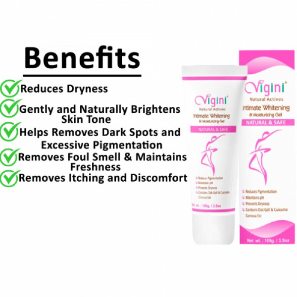 Vigini Natural Actives Bust Firming Massage Cream With Intimate Moisturizing Gel, 100gm