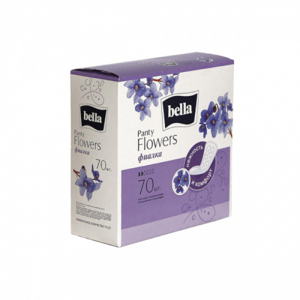 Bella Party Flowers Violet Classic Panty Liners, 70 Pieces (Pack Of 2)