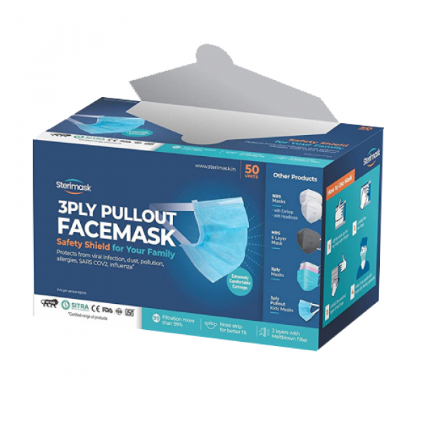 Sterimask 3PLY 5059 Pull Out White Mask, 50 Pieces