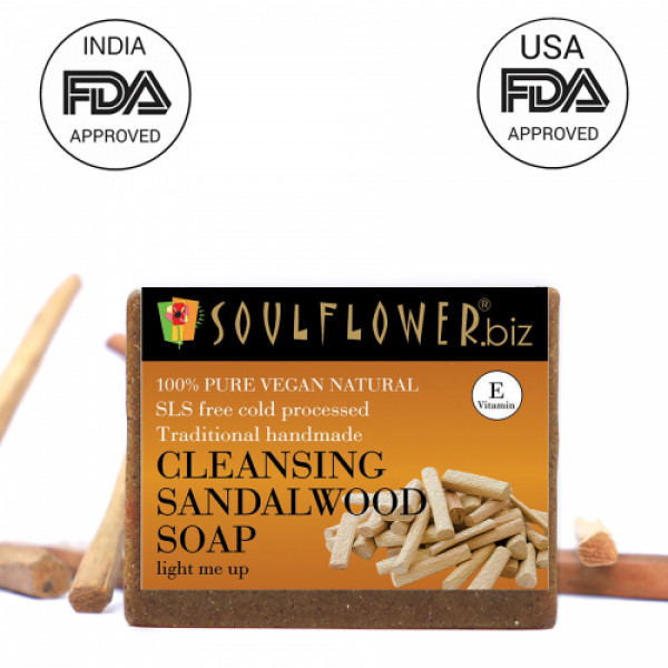 Soulflower Cleansing Sandalwood Soap, 150gm