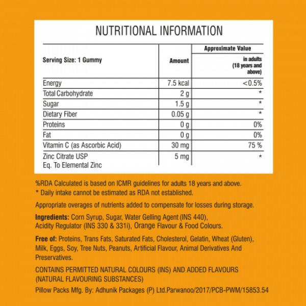 Purna Immunity Vitamin C Supplement Orange Flavor, 30 Gummies
