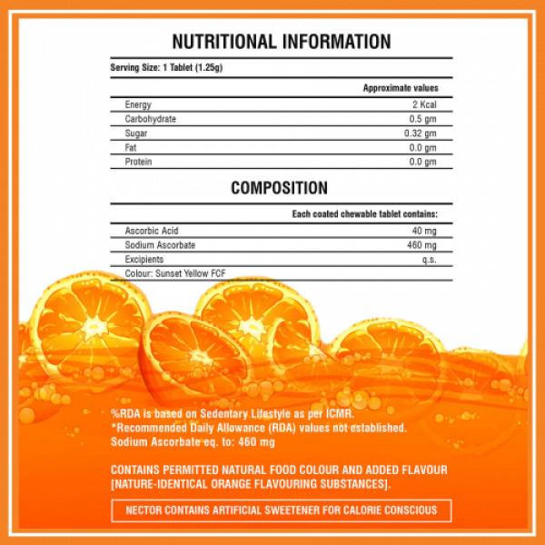 Nector Immunity Vitamin C Orange Flavor, 30 Tablets