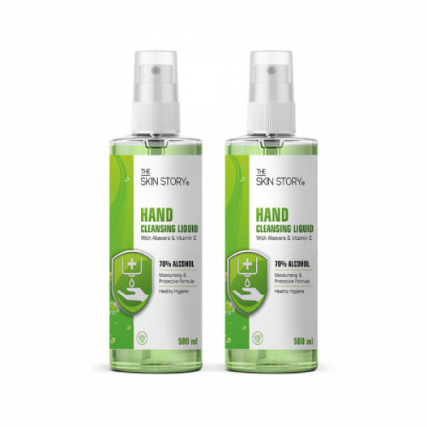 The Skin Story Hand Cleansing Liquid With 70 % Alcohol, 1000ml (Pack of 2)