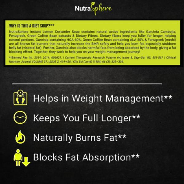 NutraSphere Lemon Coriander Instant Diet Soup Mix Powder- Healthy Low Fat, 10 Sachets