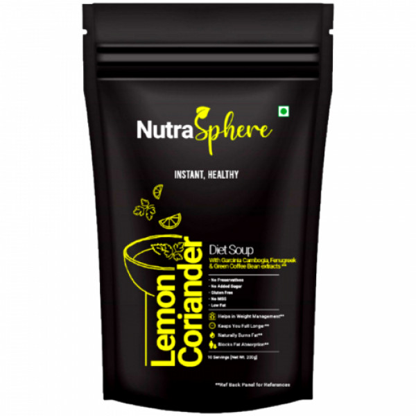 NutraSphere Hot Tomato, Manchow and Lemon Coriander Instant Diet Soups Mix Powders With Fiber (Pack of 3)