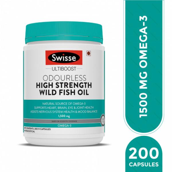 Swisse Ultiboost Odorless High Strength Wild Fish Oil, 200 Tablets