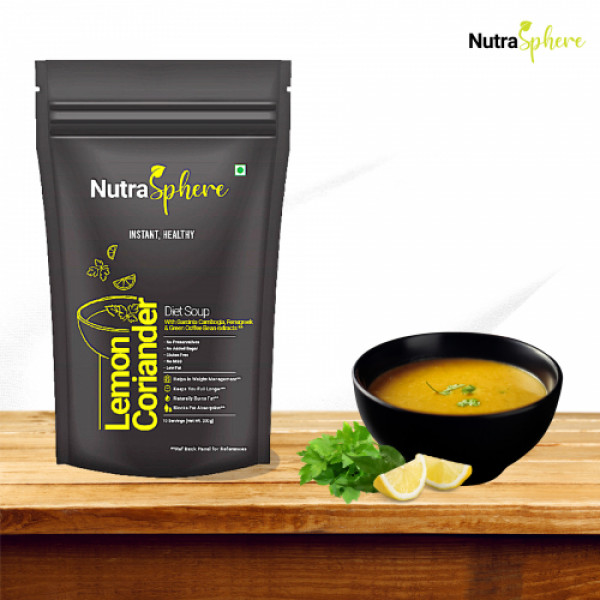 NutraSphere Instant Lemon Coriander Diet Soup and Healthy Rose Faluda with Sabja Seeds Combo