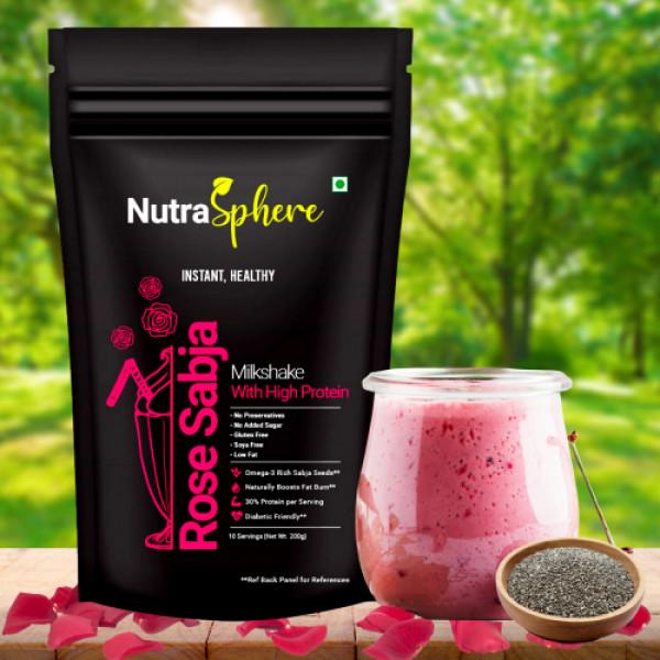 Nutrasphere Healthy Rose Faluda With Sabja Seeds Instant Diet Milkshake Powder Mix, 200gm