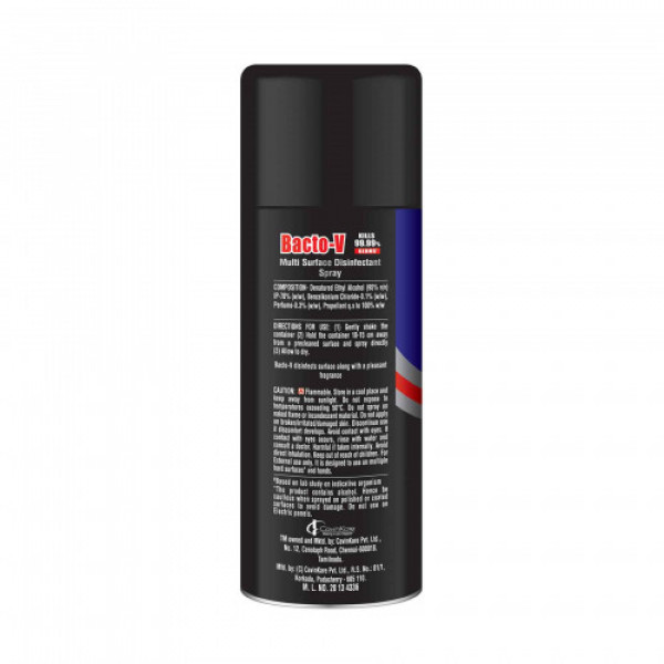 Bacto-V Multi-Surface Disinfectant Spray with 99% Denatured Alcohol, 180ml - Kills 99.9% Germs