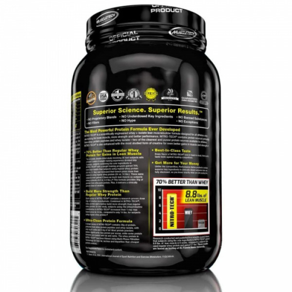 Muscletech Nitro Tech Whey Protein Peptides & Isolate Milk Chocolate, 998gm