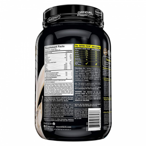 Muscletech Nitro Tech Whey Protein Peptides & Isolate Cookies and Cream, 907gm