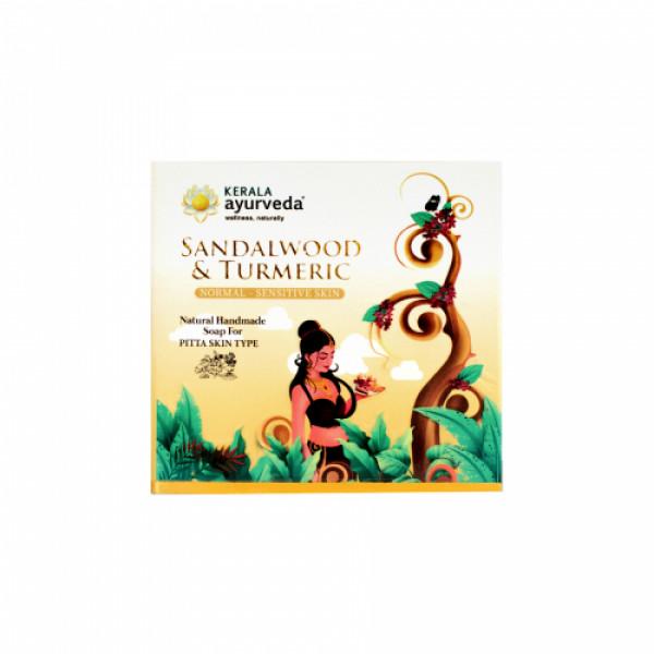 Kerala Ayurveda Natural Handmade Sandalwood & Turmeric Soap, 125gm