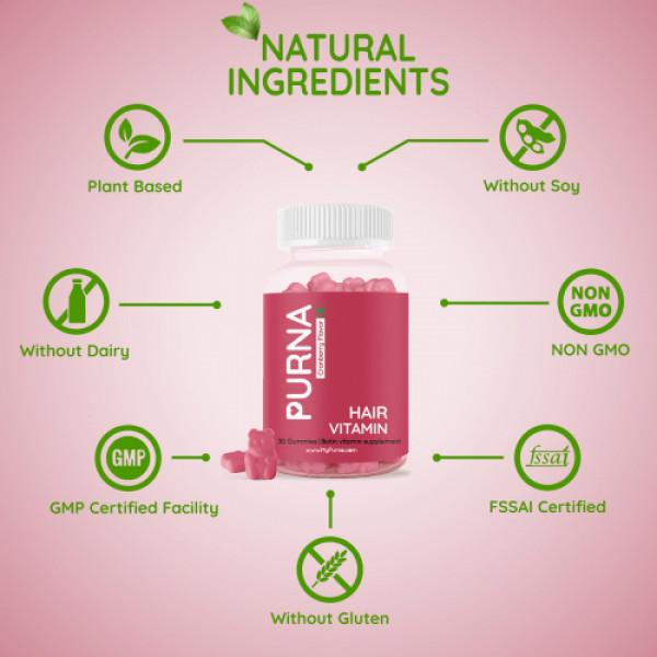 Purna Hair Vitamin Biotin Supplement Cranberry Flavor, 30 Gummies