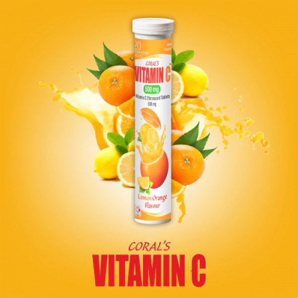 Coral's Vitamin C 500mg Effervescent, 20 Tablets